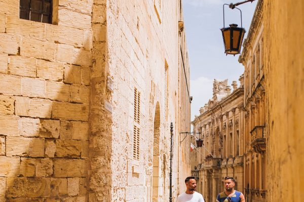 LGBT couple on streets of Mdina 1-min