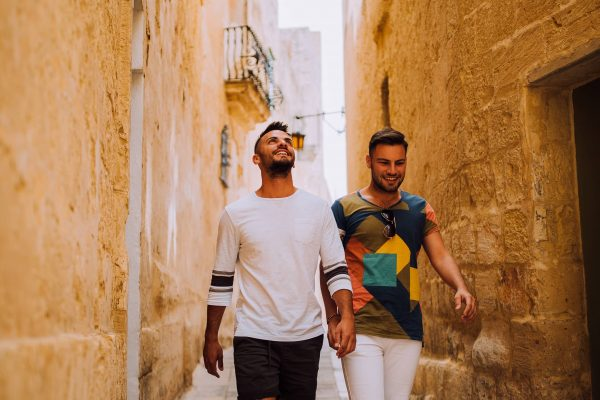 LGBT couple on streets of Mdina 2-min